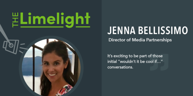 Limelight title with photo of Jenna Bellissimo name and quote